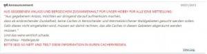 Anouncement auf Geocaching.com