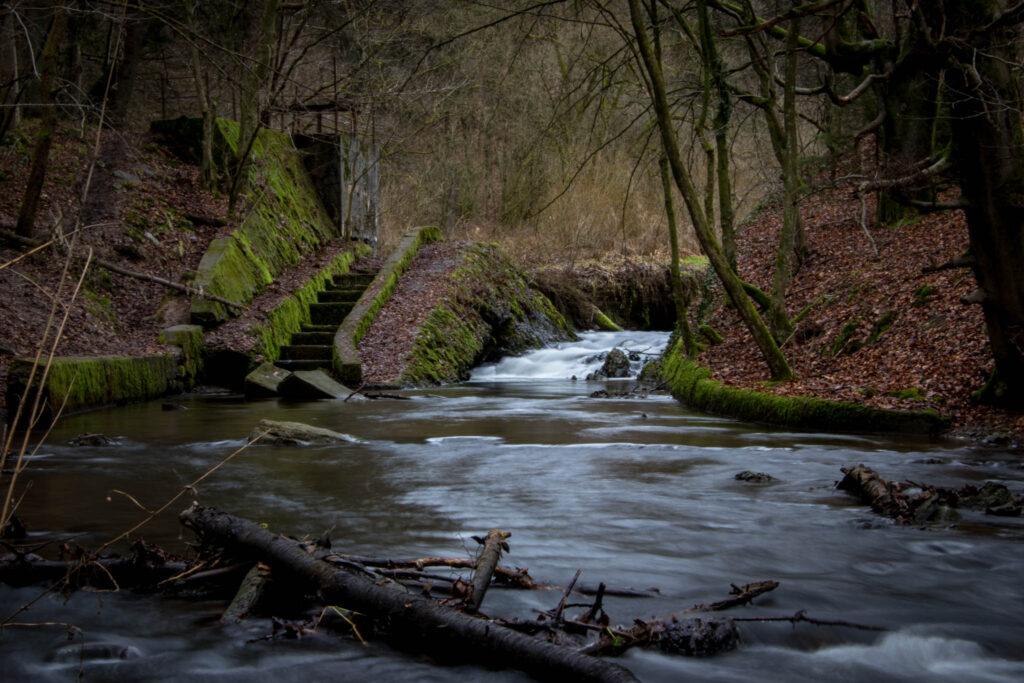 Wanderung durch das Eifgental von Burscheid Bellinhausen aus - Ehemaliges Stauwehr der alten Burscheider Talsperre am Eifgenbach
